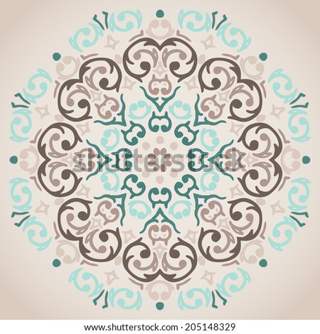 Vector circular turquoise and beige ornament design  - stock vector