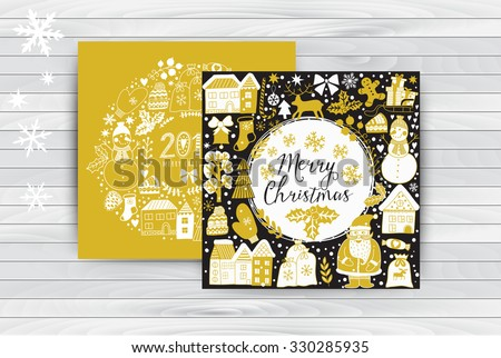 Vector circular wreath, Christmas greeting card template, Merry Christmas. Winter holiday design, frame wreath design made of childish doodles: Santa, houses, deer, winter forest, mittens, snowman. - stock vector