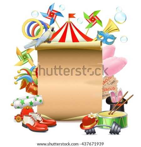 Vector Circus Concept with Poster - stock vector