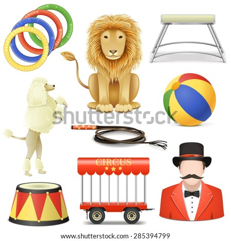 Vector Circus Icons Set 3 - stock vector