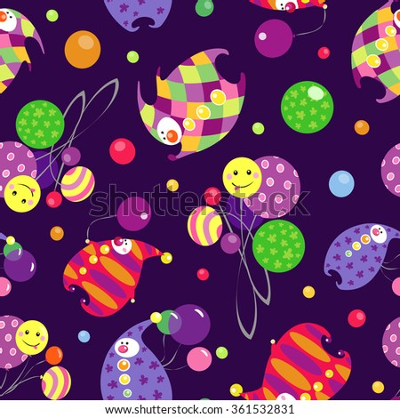 Vector circus pattern with colorful clowns and balloons on dark violet background. Seamless pattern can be used for wallpaper, pattern fills, web page background,surface textures. - stock vector