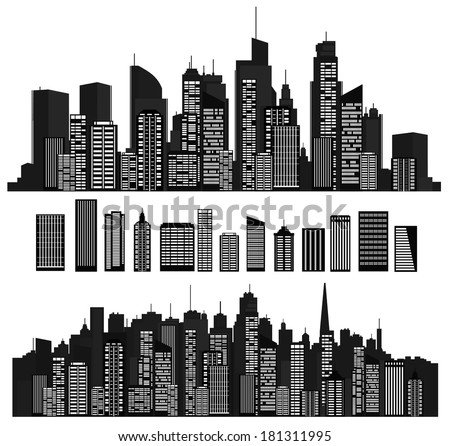 Vector cities silhouettes and elements for design. - stock vector