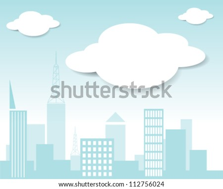 Vector city and cloud