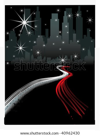 VECTOR City at Night with Freeway Traffic - stock vector