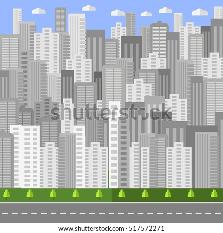Vector City Background. Architectural Building in Panoramic View. Urban Landscape and City Life. Flat Design.