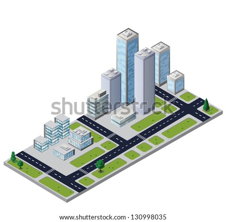 Vector city block with houses and roads - stock vector