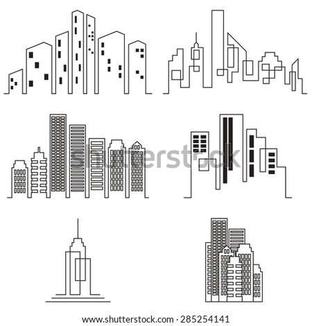 Vector city buildings silhouette icons, real estate on white background - stock vector