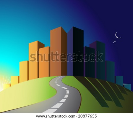 VECTOR City by night / day. - stock vector