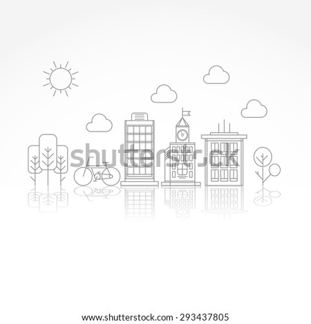 Vector city illustration in linear style - buildings clouds and trees