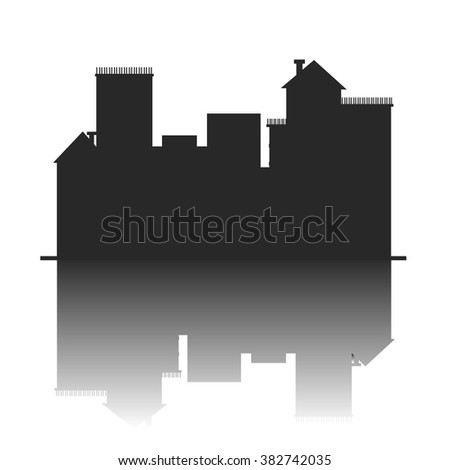 vector city. illustration   of graphical urban cityscape - stock vector