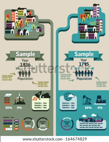 Vector city info graphic. Ecology and industry vector icons - stock vector
