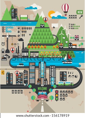 vector city info graphic elements - stock vector