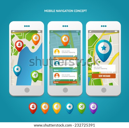 Vector city map and gps icons and pin pointers. Navigation interface - stock vector