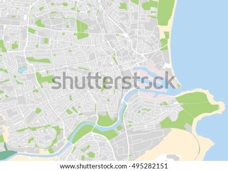 Vector City Map Aberdeen Scotland United Stock Vector 495282151 ...