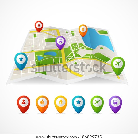 Vector city map with GPS Icons illustration - stock vector