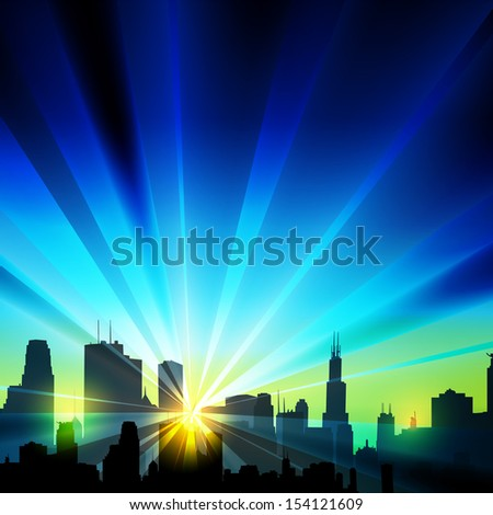 Vector city silhouette - stock vector