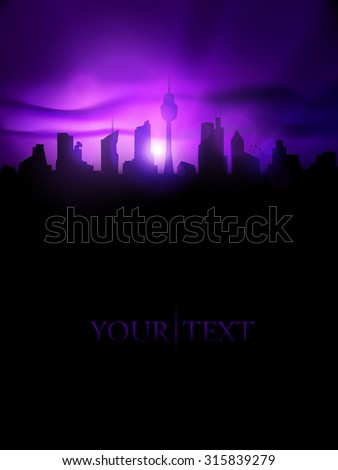 Vector city silhouette at dusk - stock vector