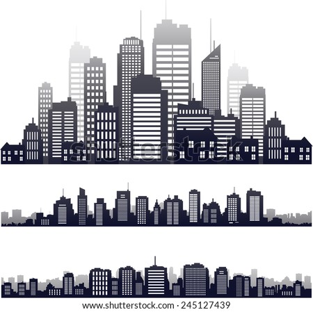vector city skyline icons set on white - stock vector