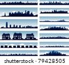 Vector city skylines - stock photo