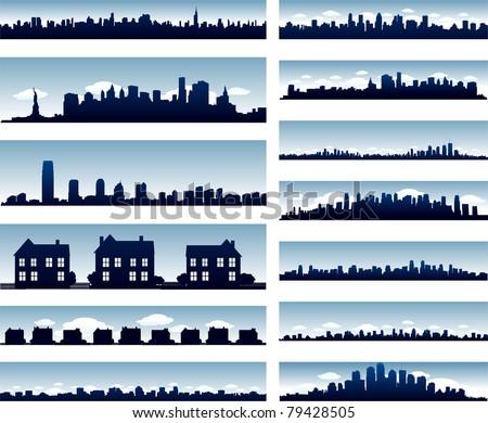 Vector city skylines - stock vector