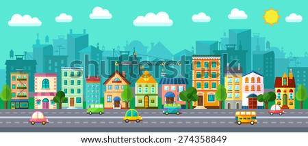 Vector City Street in a Flat Design and Set of Urban Buildings - stock vector