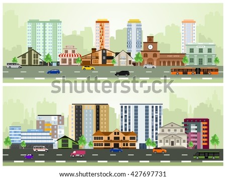 Vector city street. Set of Urban Buildings in a Flat Design