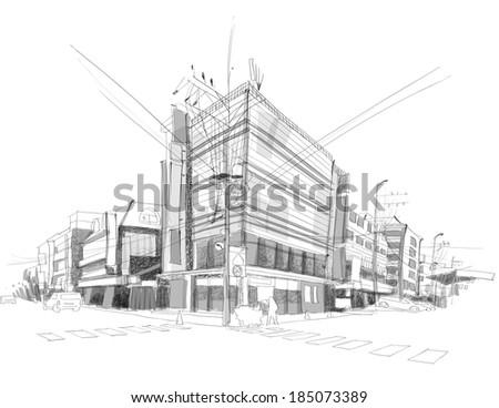 Vector City Street Sketching - stock vector