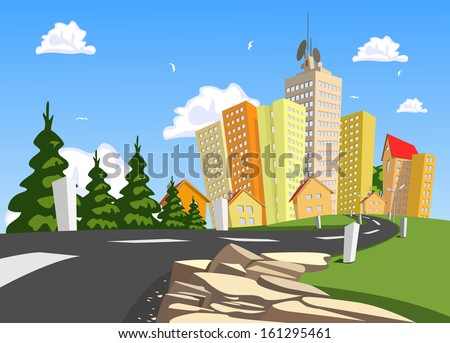 Vector city surrounded by nature landscape. Vector art - stock vector