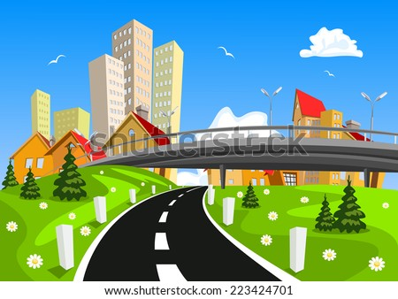 Vector city surrounded by nature landscape with bridge - stock vector