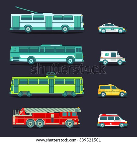 Vector city transport set in flat style. Urban vehicles infographics. Different municipal transportation icons collection. Town emergency service cars and trucks.