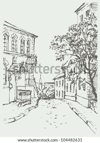 Vector cityscape. A narrow street with old houses down to the city park and the church - stock vector