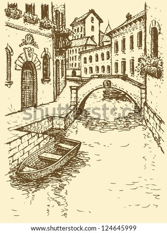 Vector cityscape. Sketch of narrow medieval Venetian street with gondola near steps leading to the channel