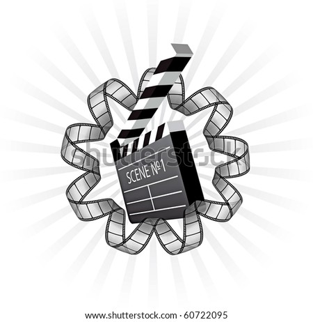 vector clapboard and film strip - stock vector