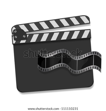 Vector clapboard with waving film reel - stock vector