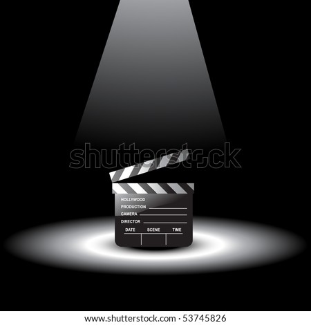 vector clapperboard with light focus on it - stock vector