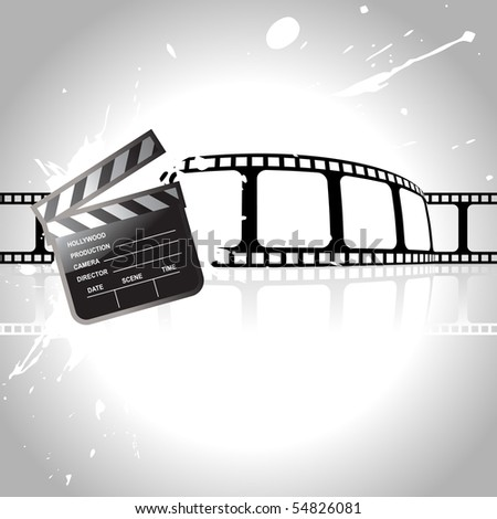 vector clapperboard with reel at back - stock vector