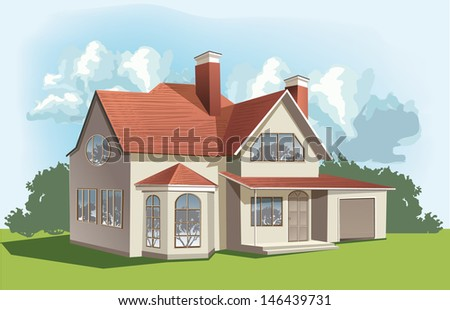 Vector classic American house - stock vector