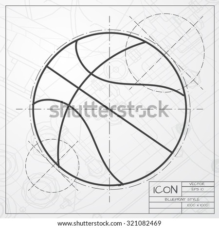 Vector blueprint basketball icon on engineer vectores en stock vector classic blueprint of basketball icon on engineer and architect background malvernweather Gallery