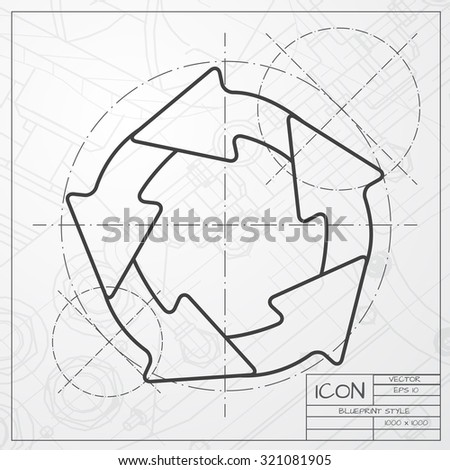 Vector blueprint circle round arrows business stock vector vector classic blueprint of circle round arrows for business diagram on engineer and architect background malvernweather Image collections