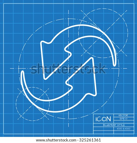 Vector classic blueprint circle round arrows stock vector vector classic blueprint of circle round arrows for business diagram on engineer and architect background malvernweather Gallery