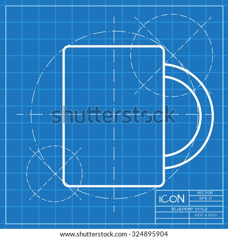 Vector classic blueprint cup tea coffee stock photo photo vector vector classic blueprint of cup for tea or coffee icon on engineer and architect background malvernweather Images