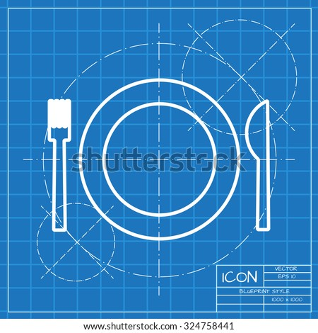 Vector classic blueprint of fork plate knife on engineer and architect background