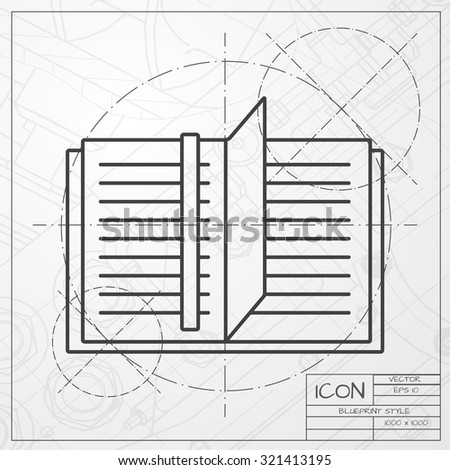 Vector classic blueprint of notebook icon on engineer and architect background