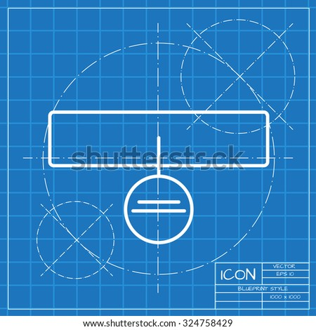 Vector classic blueprint of pets collar icon on engineer and architect background