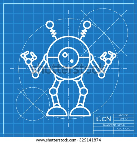 Vector classic blueprint retro robot toy vectores en stock 325141874 vector classic blueprint of retro robot toy icon on engineer and architect background malvernweather Images