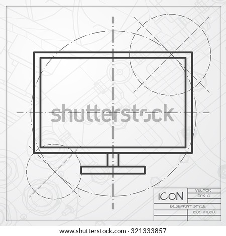 Vector classic blueprint tv monitor icon vectores en stock 321333857 vector classic blueprint of tv or monitor icon on engineer and architect background malvernweather Gallery