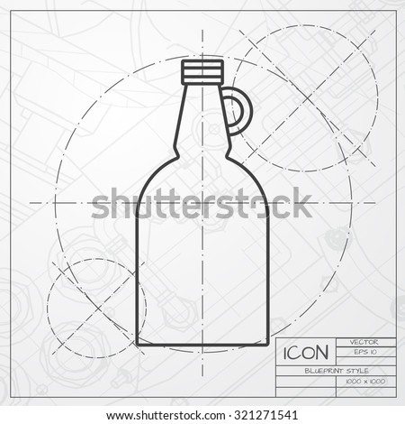 Vector classic blueprint vinegar bottle template stock photo photo vector classic blueprint of vinegar bottle template on engineer and architect background malvernweather Image collections