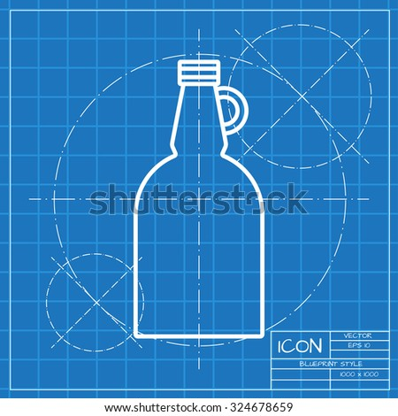 Vector blueprint vinegar bottle template on stock vector 316170326 vector classic blueprint of vinegar bottle template on engineer and architect background malvernweather Gallery