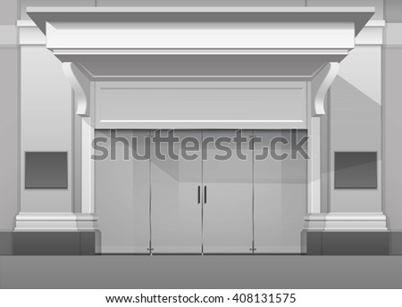 Vector Classic Shop  Boutique Building Store Front with Closed Glass Front Door, Columns, Roof  Visor and Place for Name Isolated on White Background - stock vector