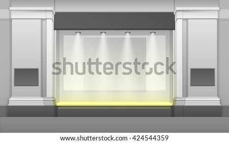 Vector Classic Shop Boutique Building Store Front with Glass Showcase, Backlight and Place for Name Isolated on White Background - stock vector